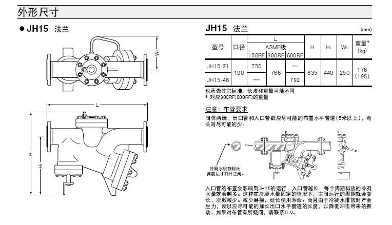 JH15浮球动力式蒸汽疏水阀外形尺寸