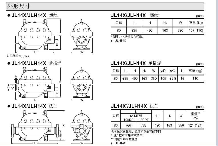 JL14X·JLH14X蒸汽疏水阀外形尺寸